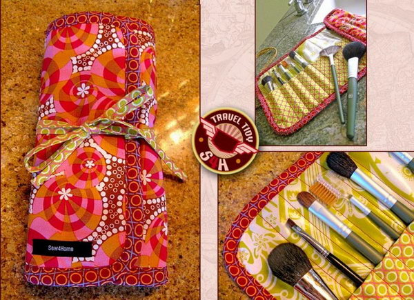 Fashionable Roll-up Makeup Brush Case. With mediocre sewing skills and some productive time, you can make this perfect roll-up makeup organizer in no time. It's super convenient to carry when traveling.
