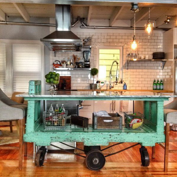 vintage factory cart  movable green vintage island here is absolutely a great way to pop 20  cool kitchen island ideas  rh   fluxdecor com