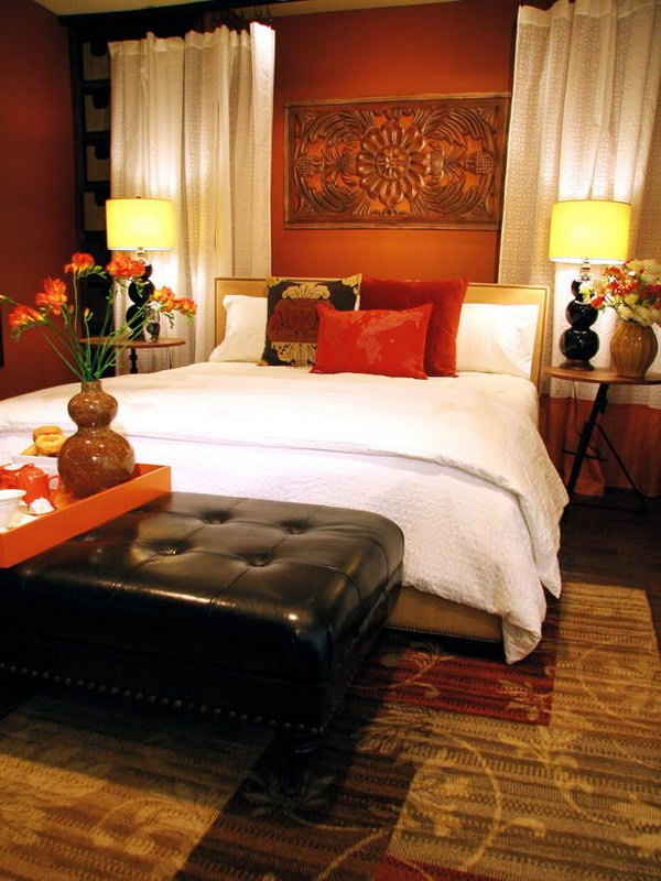 45 beautiful paint color ideas for master bedroom - Orange bedroom decorating ideas ...