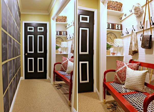 Mudroom with chalkboard wall. It's really great inspiration for many hallways that could be utilized better. The layout of color is so pretty...it has doses of bright color like white yellow and red.  The adorable idea of great black door, big black chalkboard wall, black hooks bring weight to this space. Wow...details are throughout. Love it.