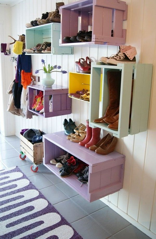 Budget friendly option. This colorful mudroom is amazing and functional. Great presentation for shoes or decors. So cute and really easy to diy.