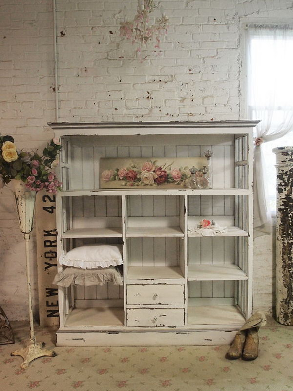 Shabby handmade cabinet - distressed paint finish on a bookcase made from salvaged wood and windows. The cabinet is gorgeous and fitting a french mudroom very much as a storage. It's just what you want to add shabby chic sophistication to the mudroom!
