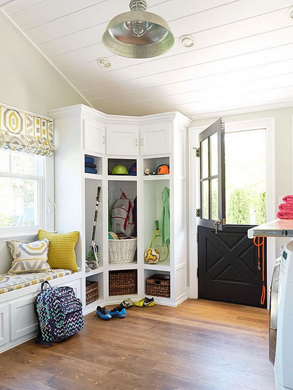 Pretty much perfect! Love the corner white spacious cabinets, they were put to good use storing the stuff.  Making the dutch door a giant add so much character to the space. Adorable functional and pretty laundry mud room.