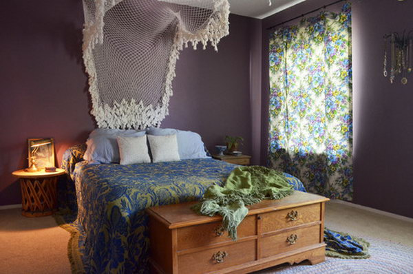Lavender and Lace: one of the most romantic combination for the bedroom. The white lace boost  this bedroom which add to elegance and chic. Purple paired with green and blue is not a conventional color combination but is works well here and gives a fresh and easy look.