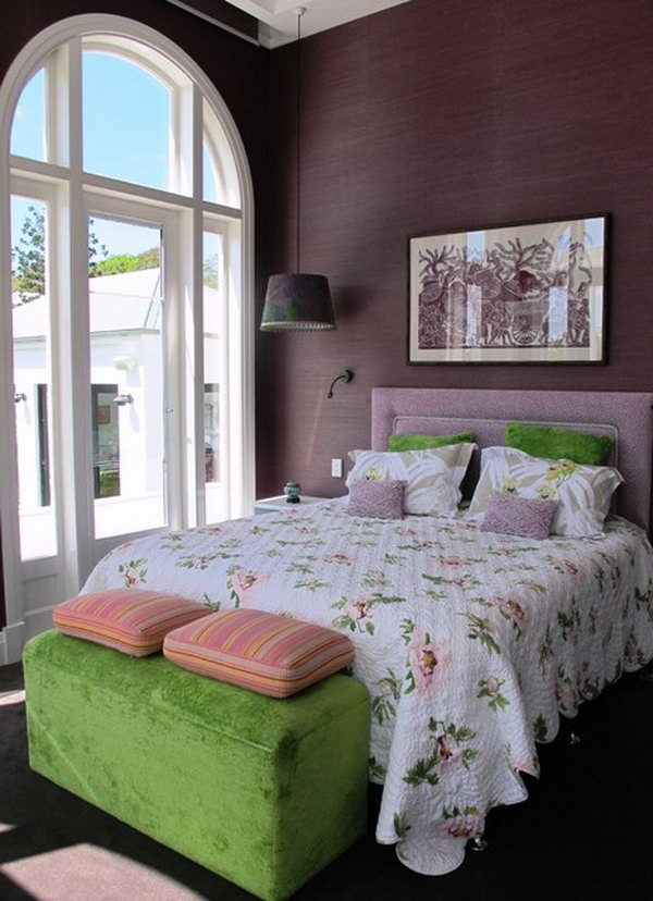 Purple and Green: The color combination of green and purple looks awesome together. I love the hanging lamps and wallpaper, the textures in the room (velvet chest, purple suede look on walls, quilted bedspread…). And the window is spectacular, not only letting in almost floor to ceiling natural light, but also due to shape. Design ideas as they tie together to make the space pretty & elegant at the same time.