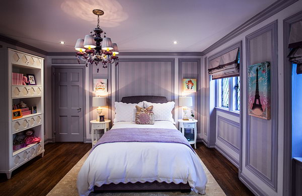 Purple Power: The purple color with the beautiful moldings enclosing the stripes. I love that how the diamond-paned windows are set into a little alcove. Especially love the walls framed out with wallpaper to make the room look more cozy and not so big and empty.