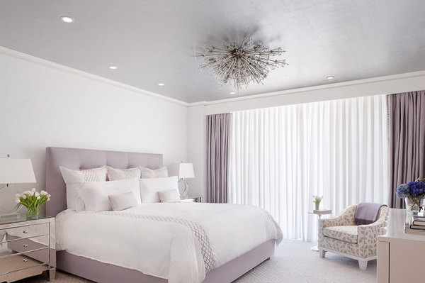 Grey-purple Color for a Tumblr Feel. This simple bedroom with the Lilac color palette is so soothing yet chic.  The details: The light fixture, curtain and sheer track concealed behind a bulkhead, the lavender ceiling, the mirrored night stand, the bedding.