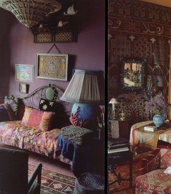Indian Theme. Accent dark walls with oriental fabrics and textures to create an exotic mood. Flashback has got quite the eye.