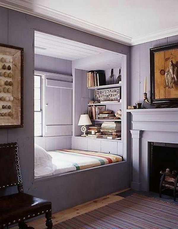 Reading Nooks: This is such a cool spot. I love how the purple and silver go perfectly together in this bedroom.