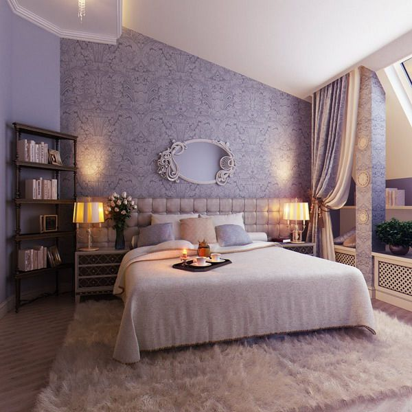 Elegant Feminine Soft Bedroom: Wall color and fairy tale like mirror, the lavender headboard, the faux animal furs carpet and bedding are beautiful, and so inviting