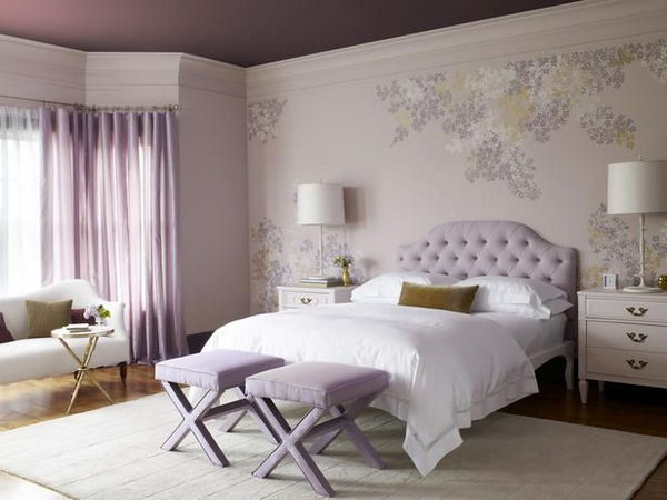 Lilac and White Bedroom: This lilac and white pairing as a girly, yet sophisticated color scheme gives the room an warm and inviting feel.