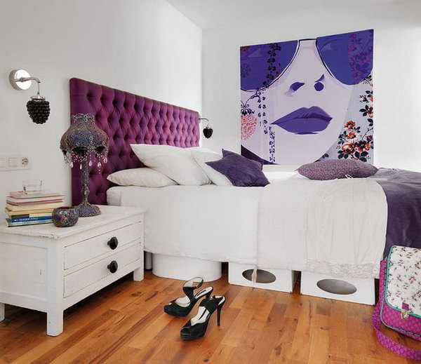 Color talks: In this crisp white client's bedroom, Purple is the chosen accent color. This is a great way to introduce different shades of a fun color( plum, eggplant, lilac and violet) tones to make a fresh and luxurious combination.