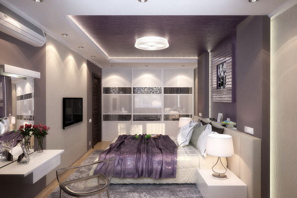 Trendy Silver and Lilac: It's bold way to paint the  back wall and ceiling all in purple  as sometimes it'll give your space a strong, dark look. But this bedroom looks bright and elegant with doses of white and the cheering up of silver. Love the idea different materials to scream the romance of purple.