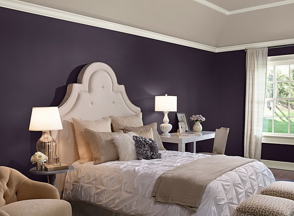 bedroom in benjamin moore 39 shadow 39 paint purple mixed with some