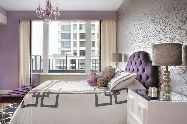 Floral Wallpaper: Great bedspread & pattern, stands out with purple wall. The rug is a great contrast too.