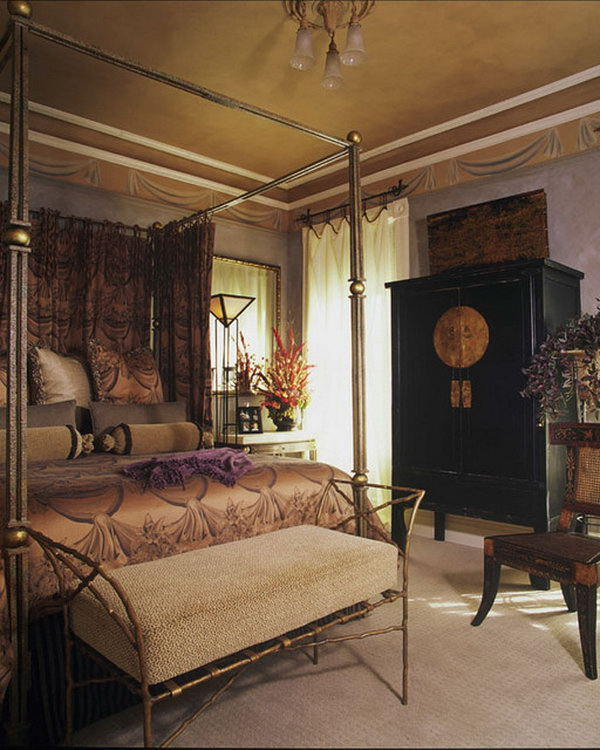 Gold and Lavender Again: This is a great example of a totally sexy Asian bedroom. I like the wedding cabinet and the metal four poster bed.
