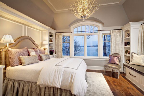 Soothing Master Bedroom: Love the calming effect of the color on the wall. Also Love the feminine feel and the chandelier plus a little pop of color.