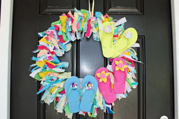 Fabric Scrap and Flip Flop Wreath.