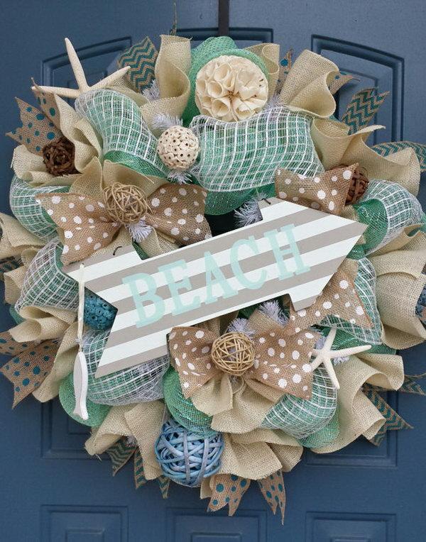 Summer Decor Mesh Wreath.