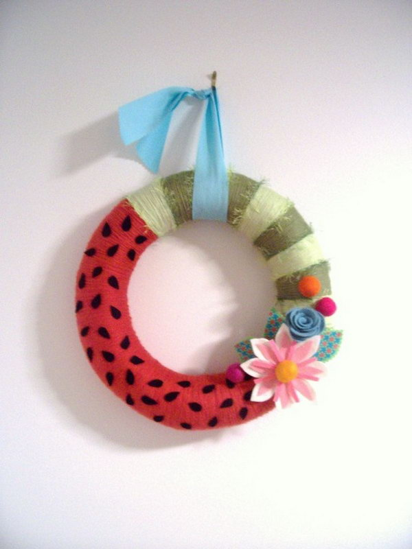 Watermelon Yarn Wreath.
