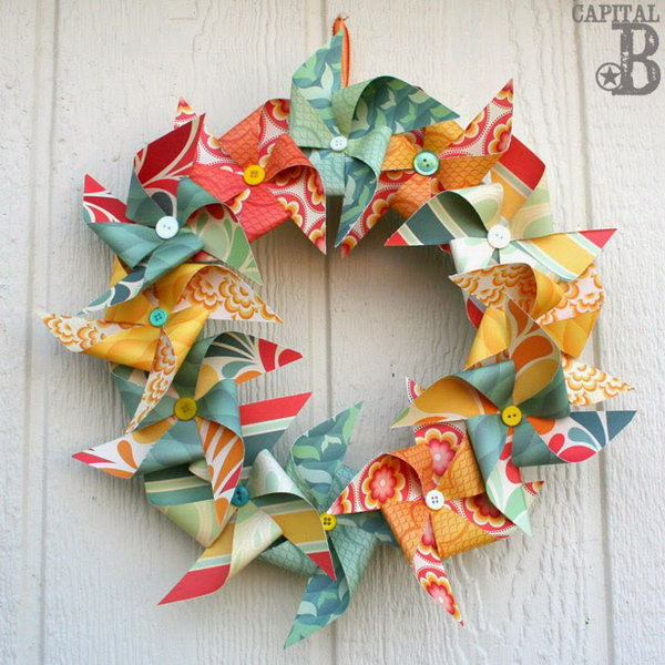 Colorful Pinwheel Wreath. This pinwheel wreath is very fun and easy to make. It is a perfect craft for your kids to make during the summer vocation.