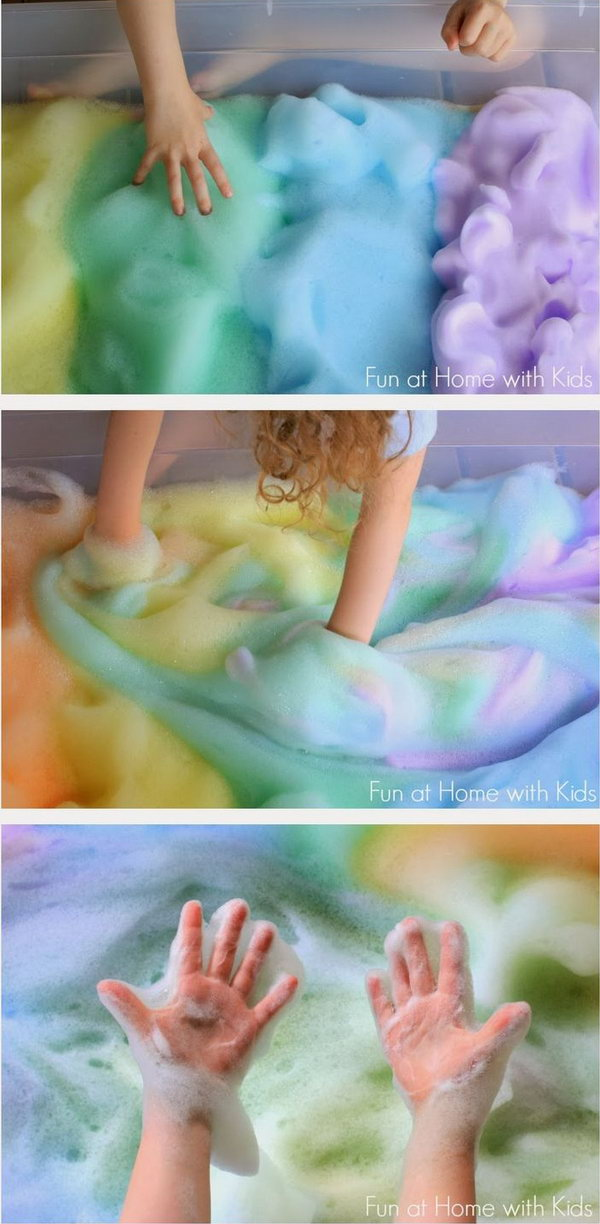 Feel the rainbow.  It just took 10 minutes for the blogger to whip up the huge batch of bubby, puffy, rainbow soap foam fun.