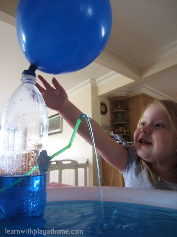 Water bottle fountain. What is better the kids learn with play? Kids enjoy great fun when the air from the balloon pushes the water out through the straw! And this is also a science lesson. Materials you need for this game: empty water bottle, balloon, straw, blu-tac (or similar), tray for catching the water (optional).