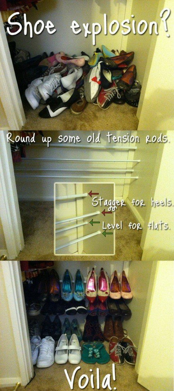 Organize Your Shoes With Tension Rods Rather than Throwing Them on the Floor