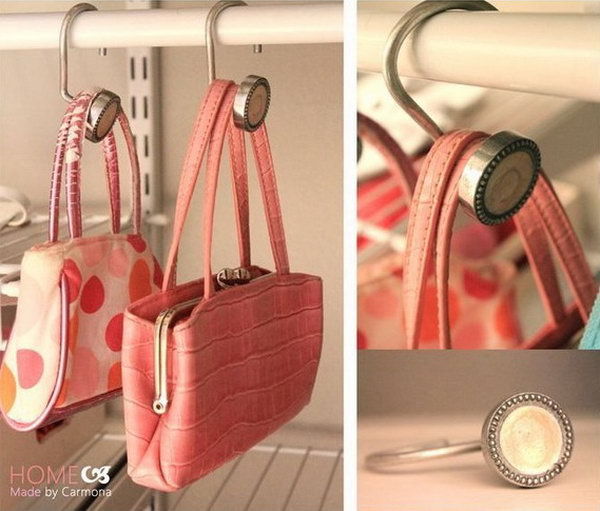 Create Bag Hangers with Shower curtain hooks