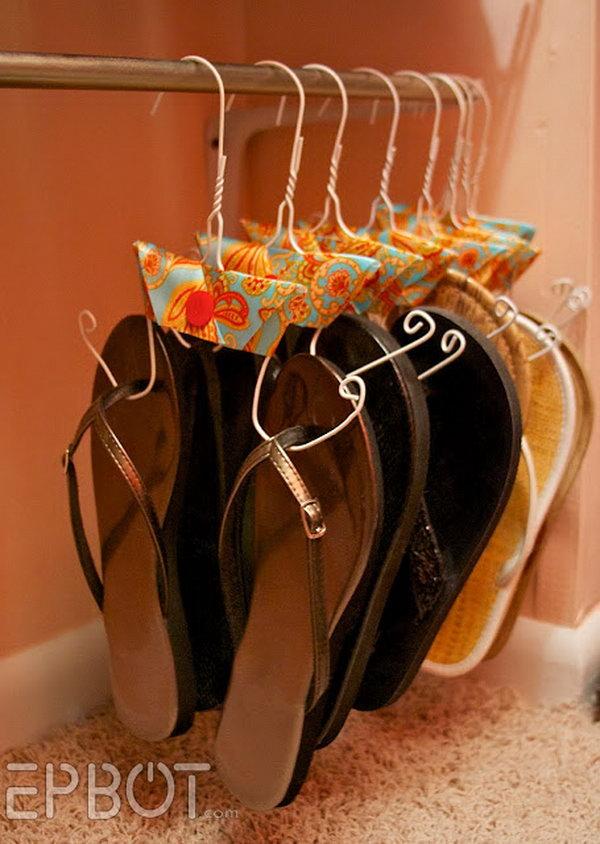 Make Flip Flops Hangers from Wire Coat Hangers