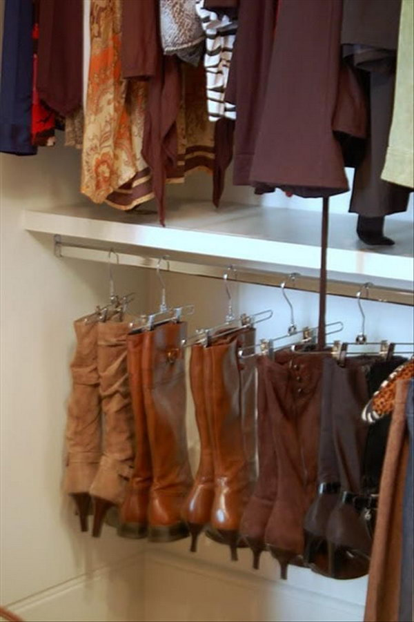 Use Pants Hangers to Organize Your Boots