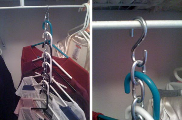 Use S-Hooks and Chains to Hang Multiple Garments