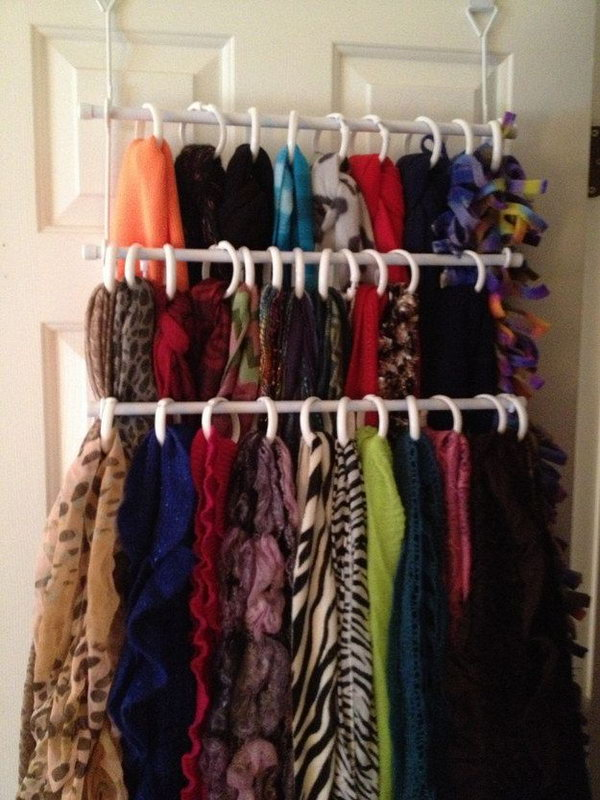 Use Shower Curtain Rings to Organize Scarves