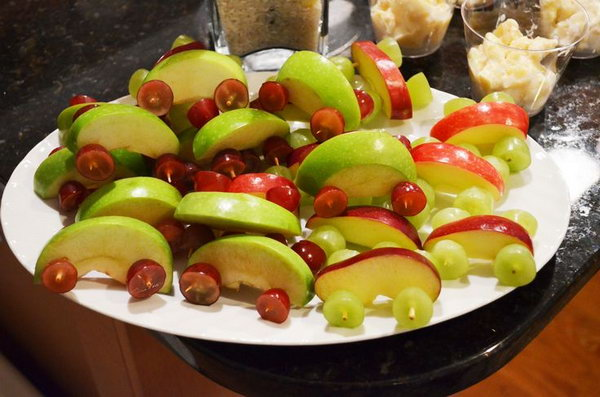 Cars Made out of Apples and Grapes: Fun and fitting dessert for a truck themed birthday party. And they are easy to do at home.
