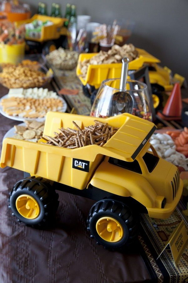 Use Plastic Dump Trucks As Bowls To Hold Snack Foods