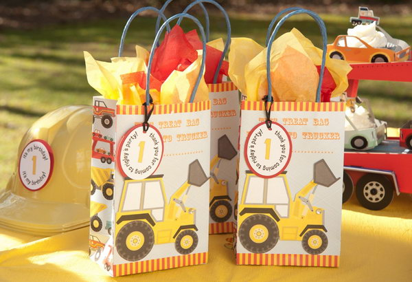 Gifts in Cute Excavator Paper Bags