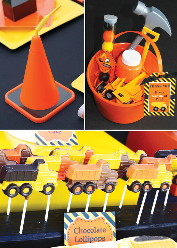 Cute Details: Fun little chocolates with tools in the bucket, chocolate dump trucks and cone cups which will be a hit with the kids.