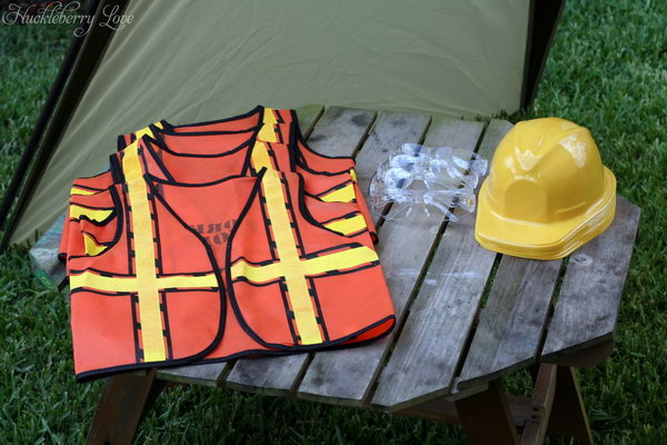 Kids Construction Clothing: Construction Vest and hard helmet.