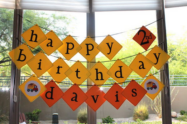 Truck Themed Happy Birthday Banners: Simple and great way to decorate a birthday party.
