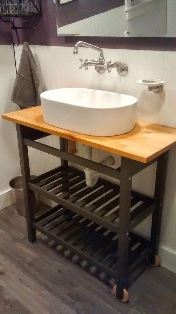 Bathroom Vanity Hacked from Ikea Kitchen Cart.