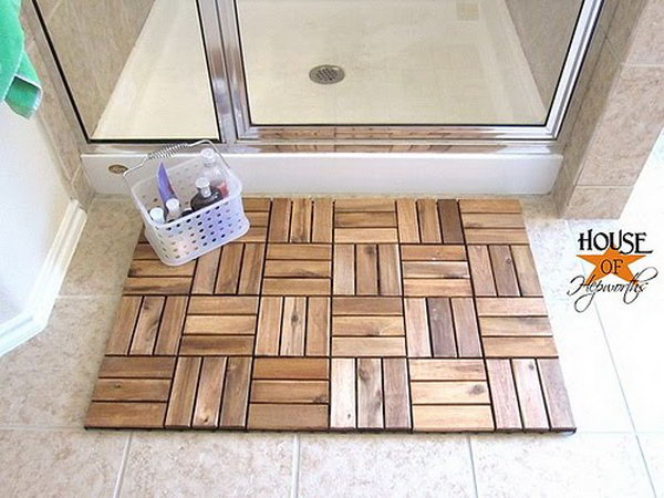 Spa Bath Mat Made from IKEA Outdoor Decking.