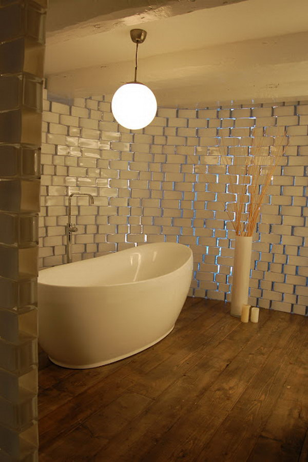 Translucent Rounded Bathroom Wall Made from IKEA Rectangel Vases.