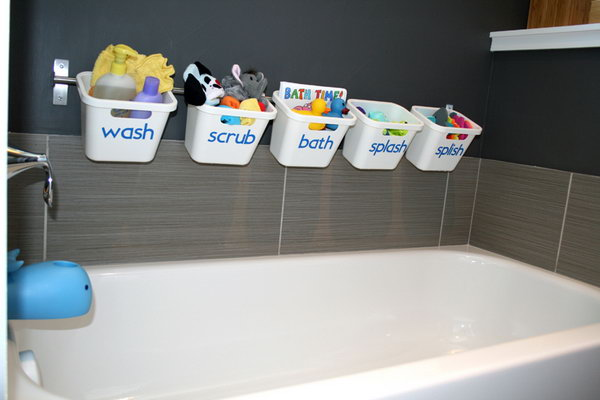 Bath Toy Storage Made from the Ikea Grundtal Rail and the Rationell Waste Sorting Bins.