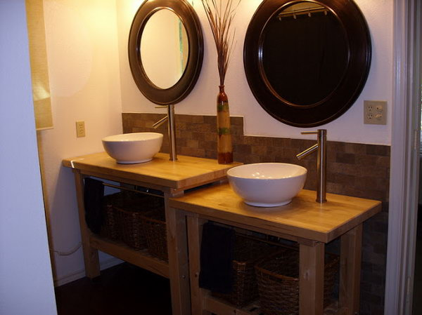 Bathroom Vanity Hacked from the Kitchen Island.