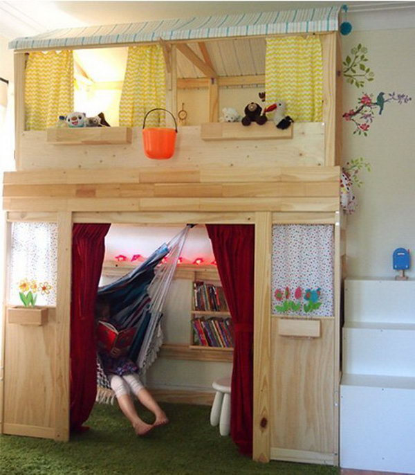 Turn Plain Jane IKEA Bunk Bed to Indoor Kids Cabin