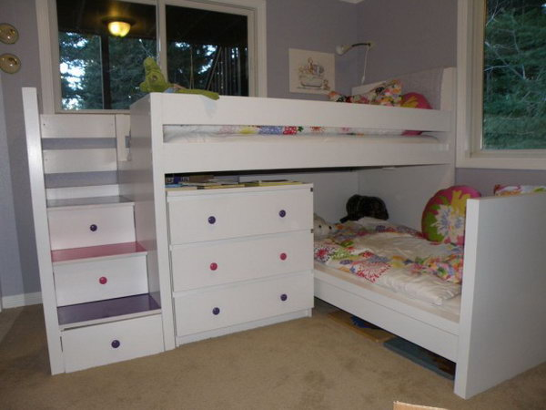 Malm Toddler Bed under Malm-inspired Bunk: This bunk bed was made with two used Malm beds, and a used Malm dresser. I appreciated that it was so beautifully made with so much storage and the drawers stairs are perfect for kids who love climbing. See the details