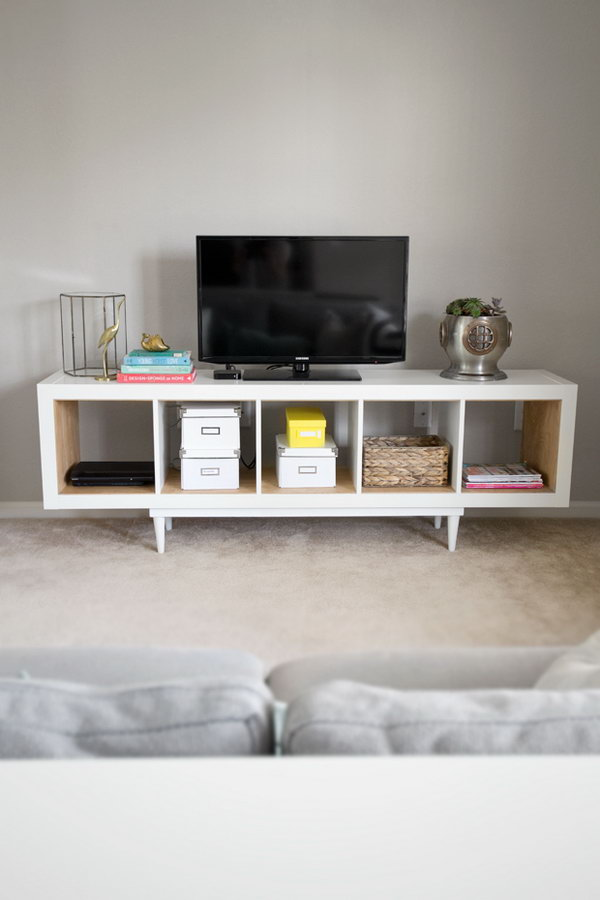 IKEA HACK: Kallax Shelving Unit to TV Stand or a Mid-century Sideboard.