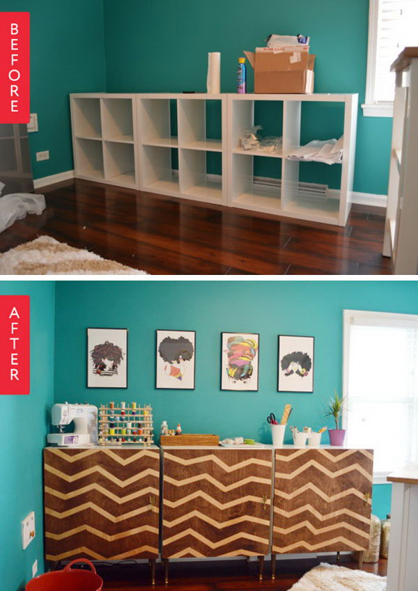 Before & After: IKEA Kallax to Personalized Zig-Zag Modular Credenza. Get the full tutorial