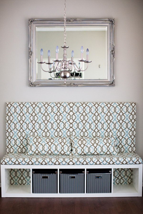 DIY Banquette Seat IKEA Hack. Look how perfect the cubbies are for storage boxes under the DIY banquette seat hacked from IKEA shelving units! Get more inspiration