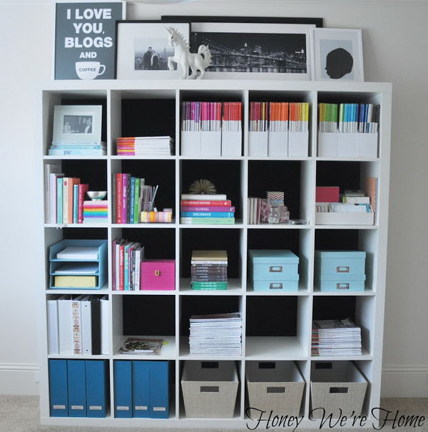 Fabric Lined Kallax Bookshelf. Get the full instructions